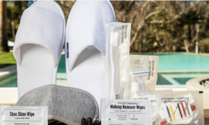 Slippers, Shaving Kits, Dental Kits, and Sewing Kits are all appreciated amenities